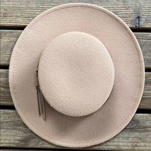 Faux wool stiff brim hat